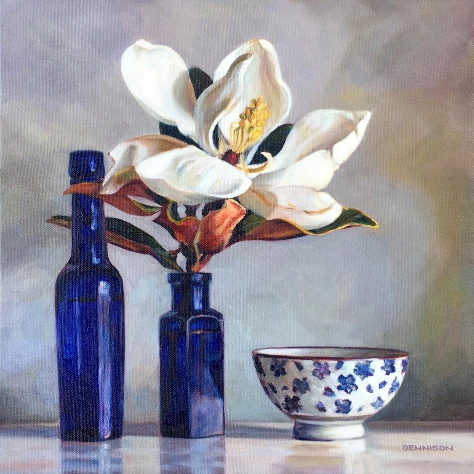 Blue Still Life with Magnolia   Oil on Canvas, 36cm x 36cm
