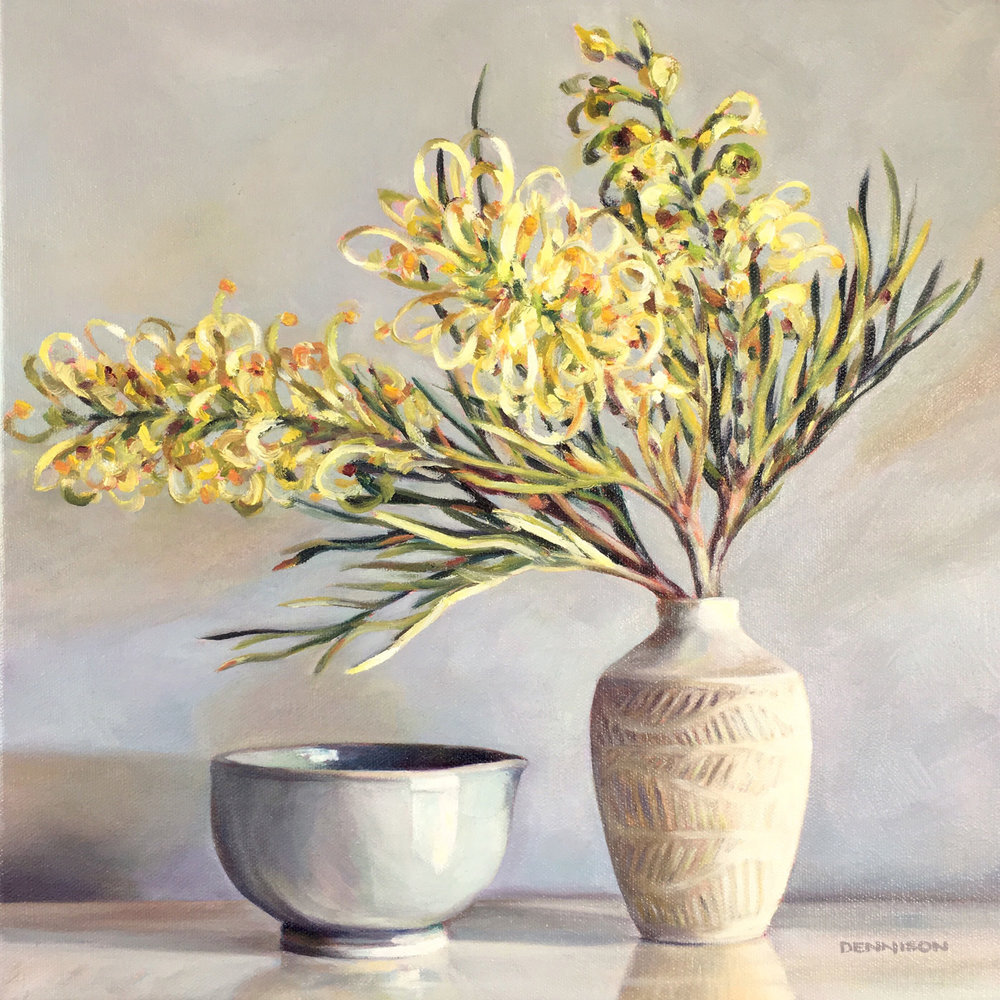 Calm Ceramics with Grevillea   Oil on Canvas, 36cm x 36cm