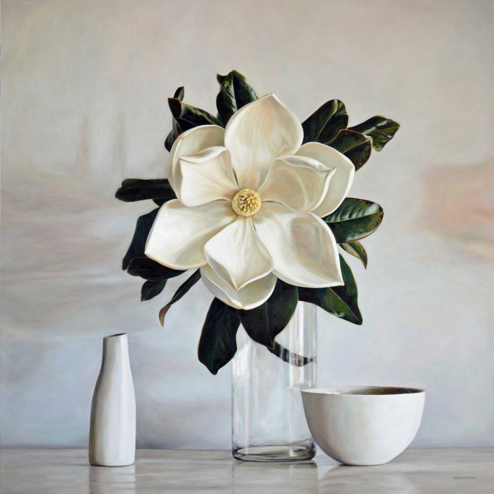 Magnolia Still Life   Oil on Canvas, 100cm x 100cm