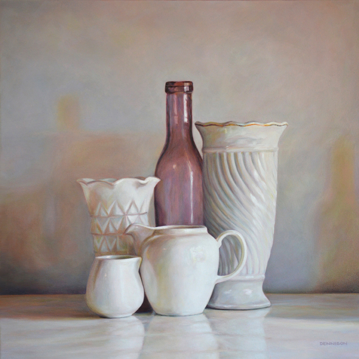 White Still Life with Amethyst Bottle  Oil on Canvas, 61cm x 61cm