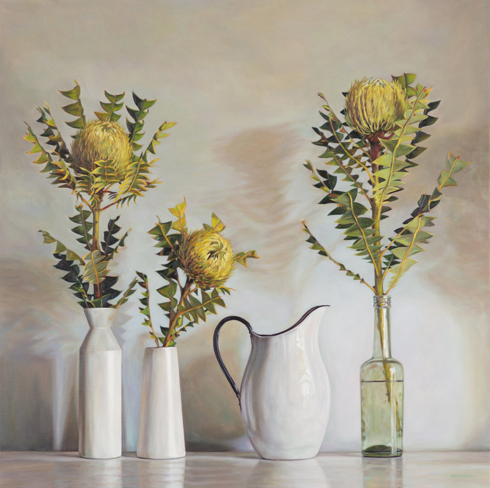 1. Still Life with Banksia Baxteri   Oil on Linen, 100 x 100cm, $4300