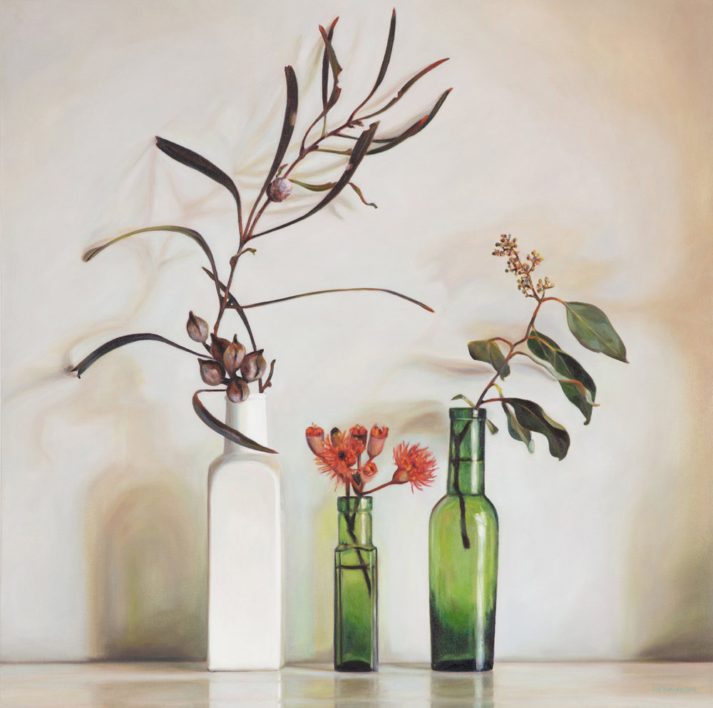 2. Still Life with Hakea and Eucalypt   Oil on Canvas, 70 x 70cm, $2300