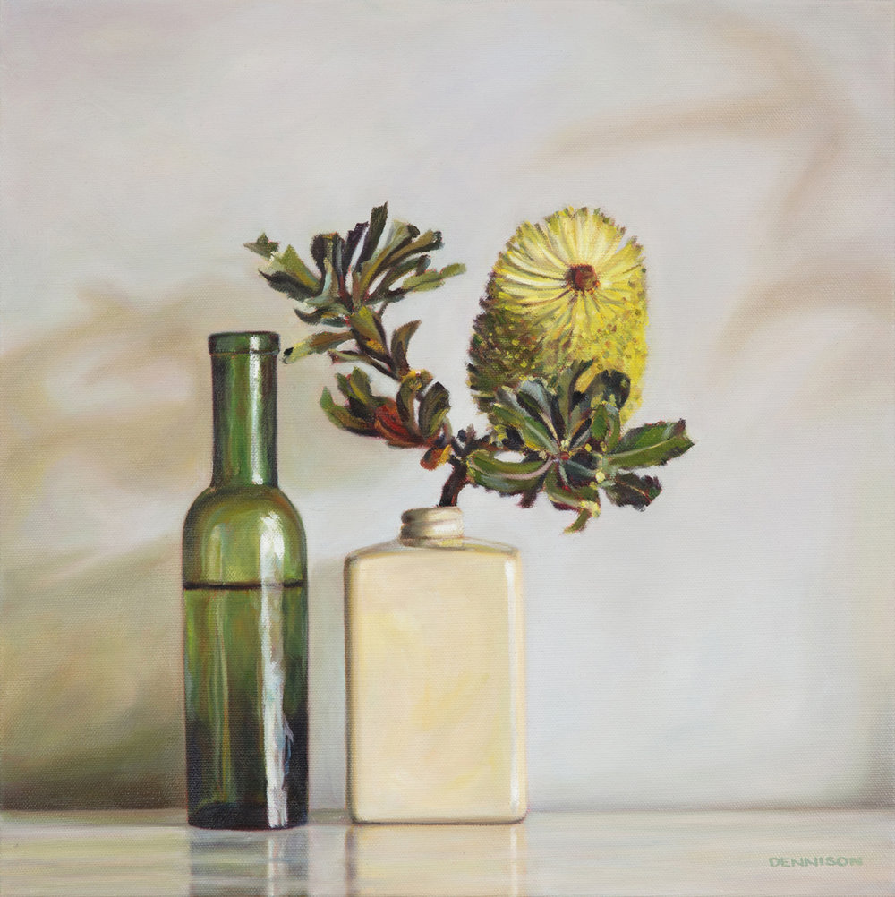 Yellow Banksia from Around the Corner   Oil on Canvas, 40.5 x 40.5cm