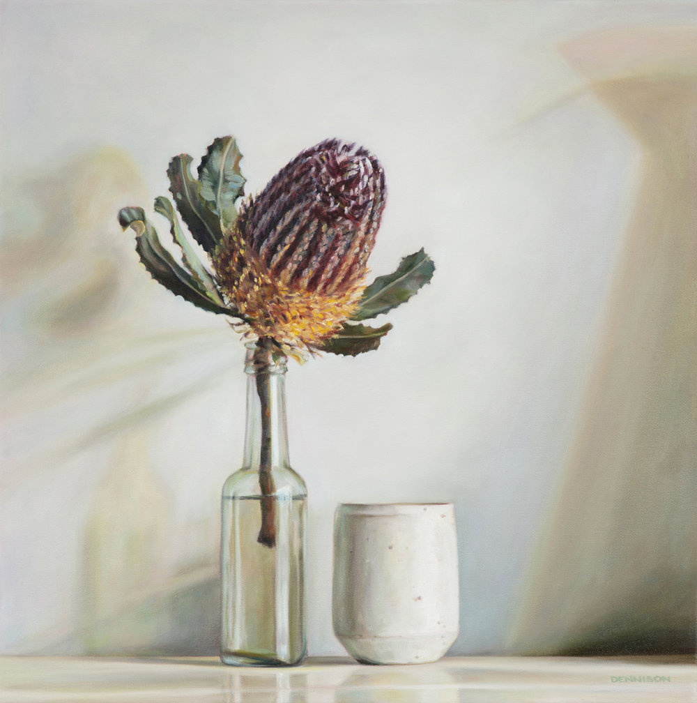 Autumn Light and Banksia   Oil on Canvas, 50 x 50cm