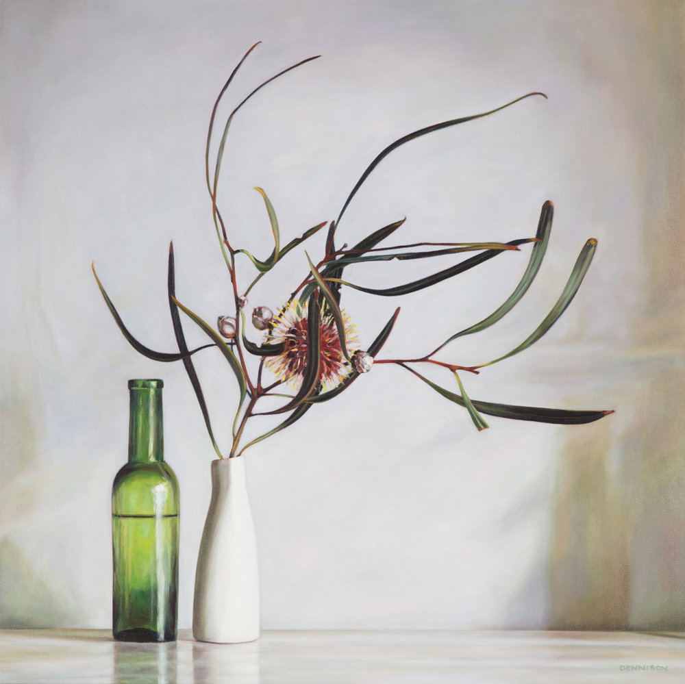 Pincushion Hakea and Winter Light   Oil on Canvas, 70 x 70cm
