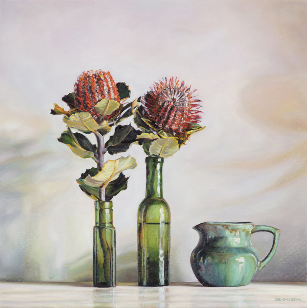 Green Bottles and Banksia Coccinea   Oil on Canvas, 50 x 50cm