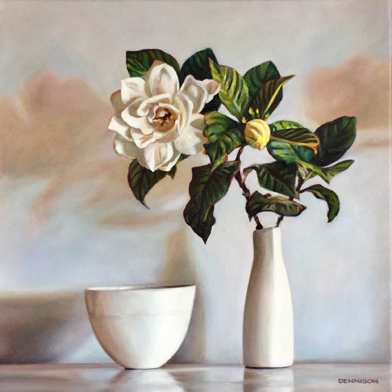 Gardenia Still Life   Oil on Canvas, 41 x 41cm