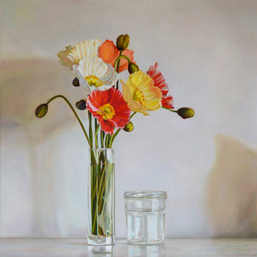 Still Life with Poppies   Oil on Canvas, 50 x 50cm
