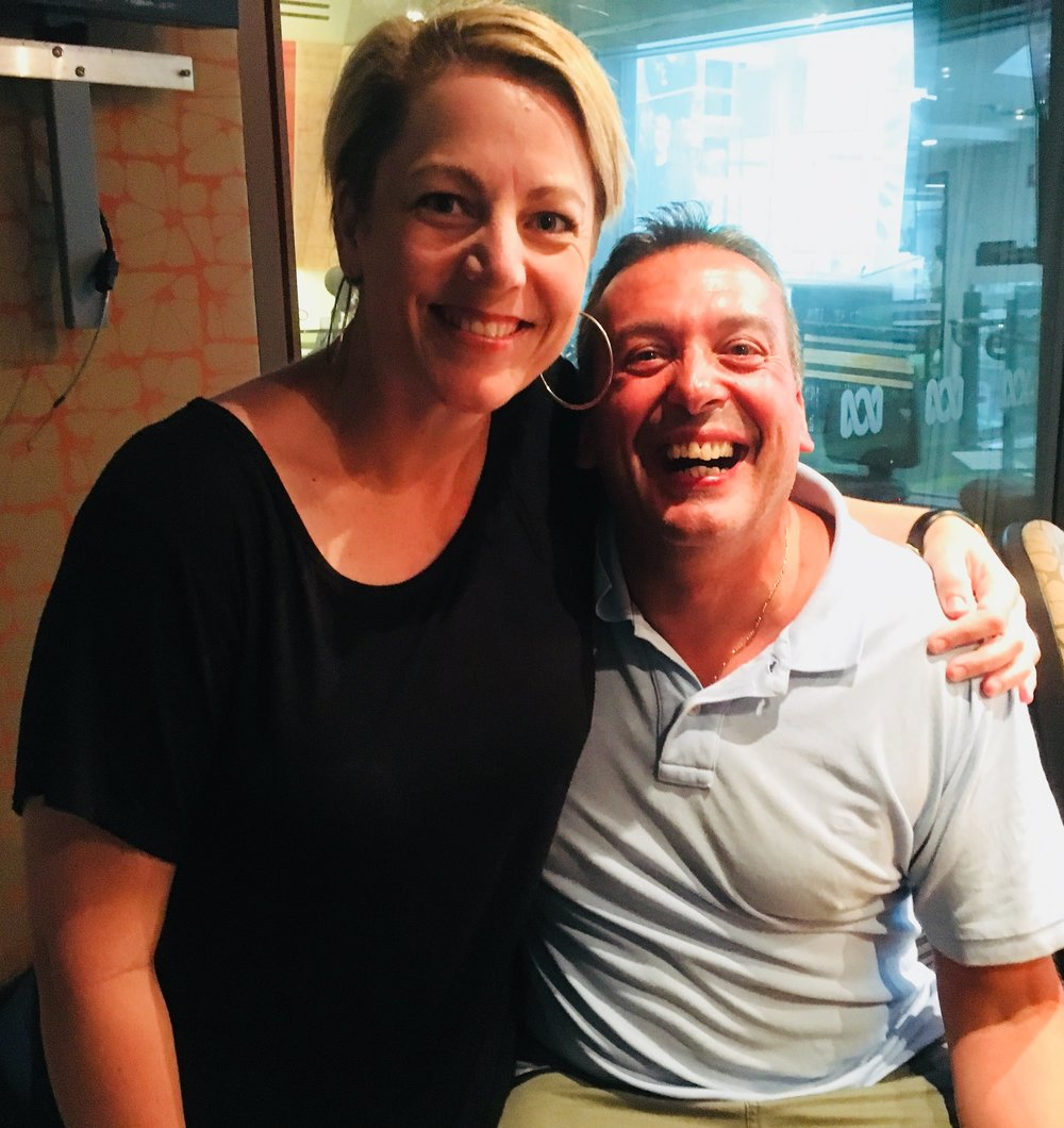 Nelly here with Christos Tsiolkas at Radio National studios, Melbourne