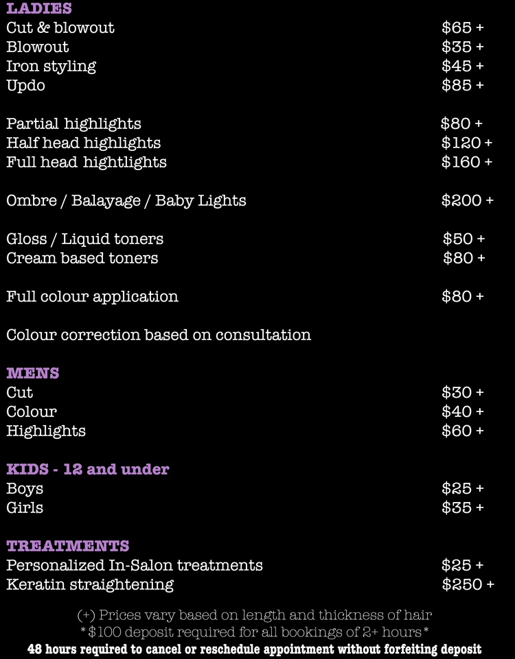Price List  Roots  Tips Hair Salon Toronto  Roots  Tips
