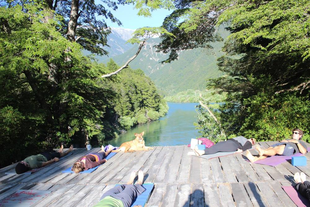 Morning Yoga on the Deck Overlooking The Mighty Rio Futaleufu