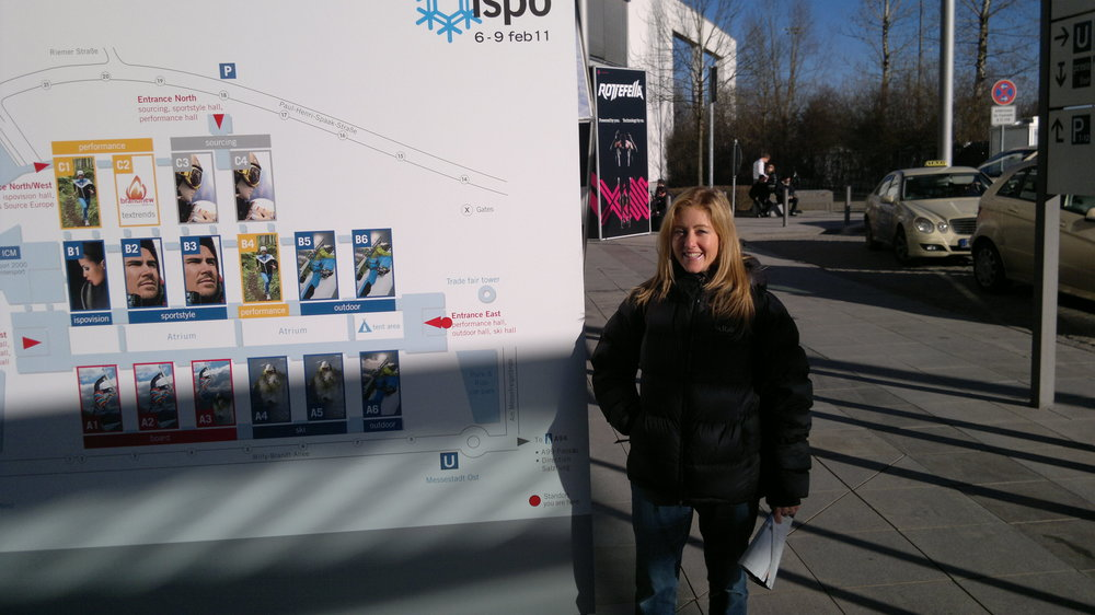 Yours truly at the entrance to ISPO in Munich on a sunny winters day