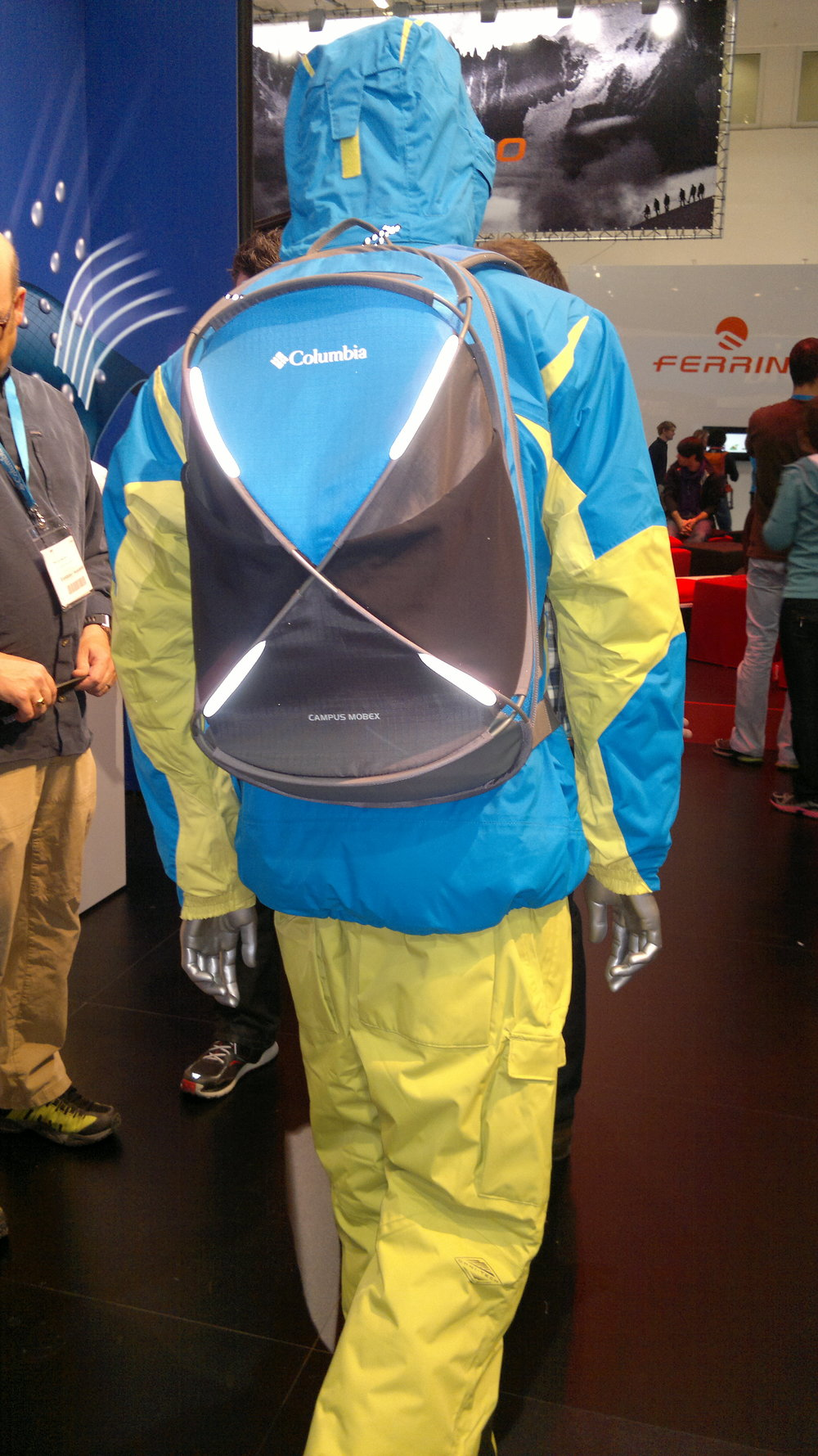 Tent-esque backpacks from Columbia and bright colours everywhere.