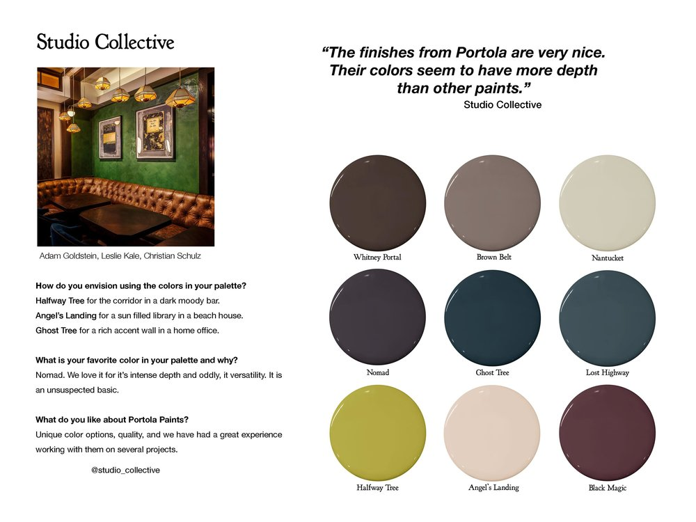 Follow Studio Collective:  studio-collective.com  ,  instagram.com/studio_collective   Color Picks:  Whitney Portal ,  Brown Belt ,  Nantucket ,  Nomad ,  Ghost Tree ,  Lost Highway ,  Halfway Tree ,  Angel's Landing ,  Black Magic