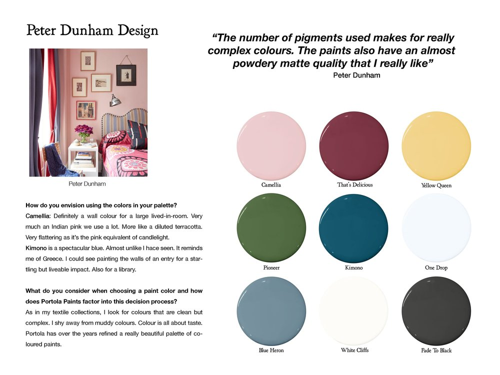 Follow Peter Dunham:  peterdunham.com  ,  instagram.com/peterdunhamdesign   Color Picks:  Camelia ,  That's Delicious ,  Yellow Queen ,  Pioneer ,  Kimono ,  One Drop ,  Blue Heron ,  White Cliffs ,  Fade To Black