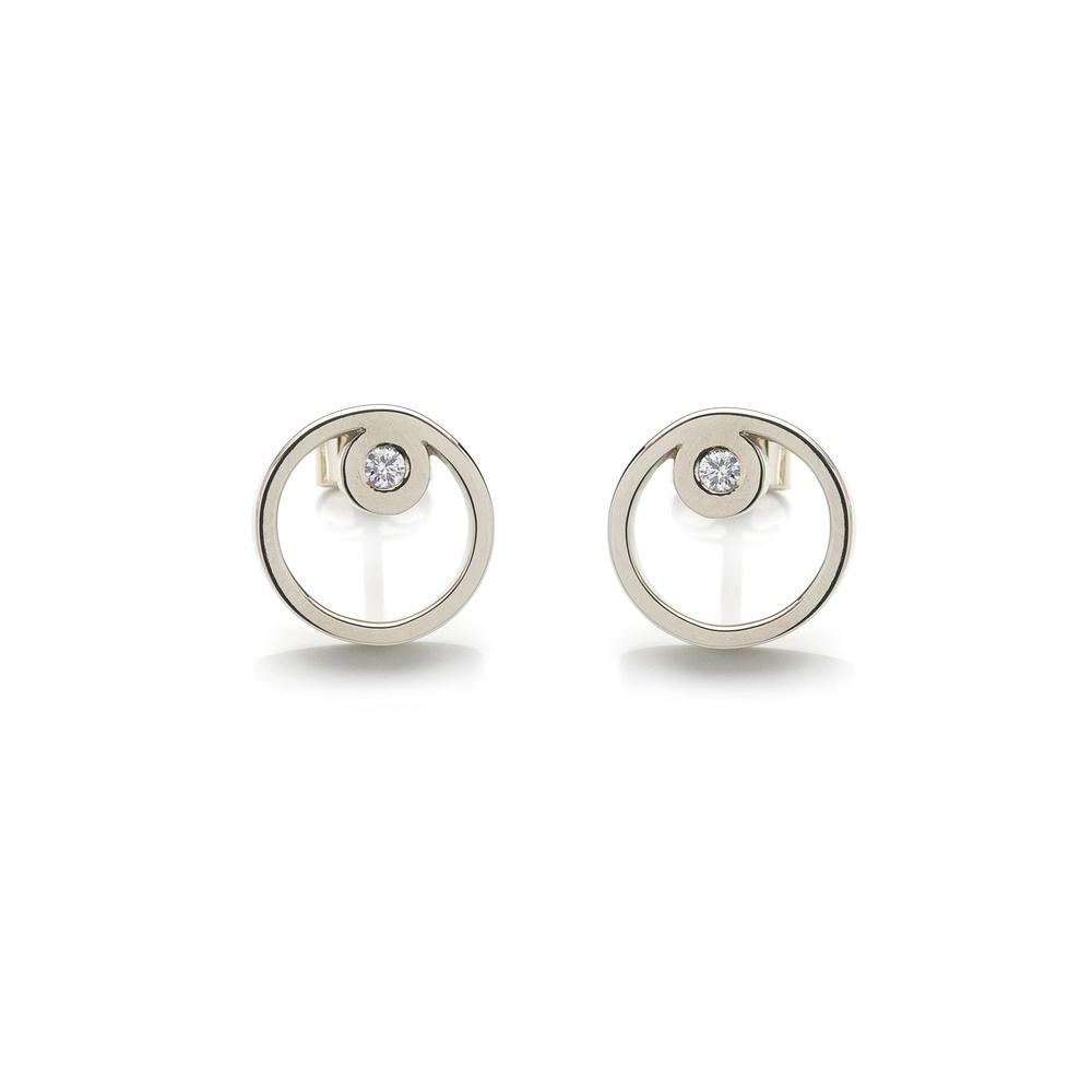 Gobi Earrings 18 K white gold 2 brilliants, total carat weight 0.07 ct 2,555 LTL / 740 EUR