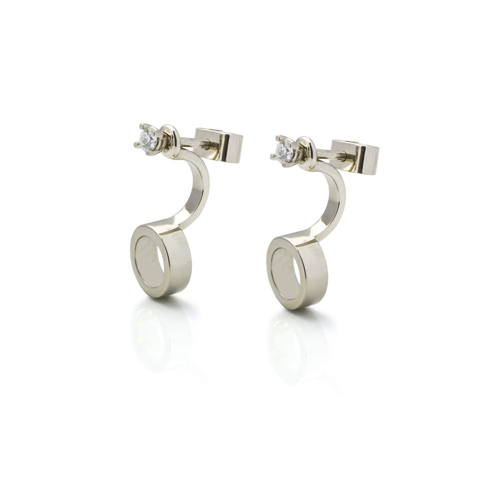 Copper Earrings 18 K white gold 2 brilliants, total carat weight 0.12 ct 2,797 LTL / 810 EUR