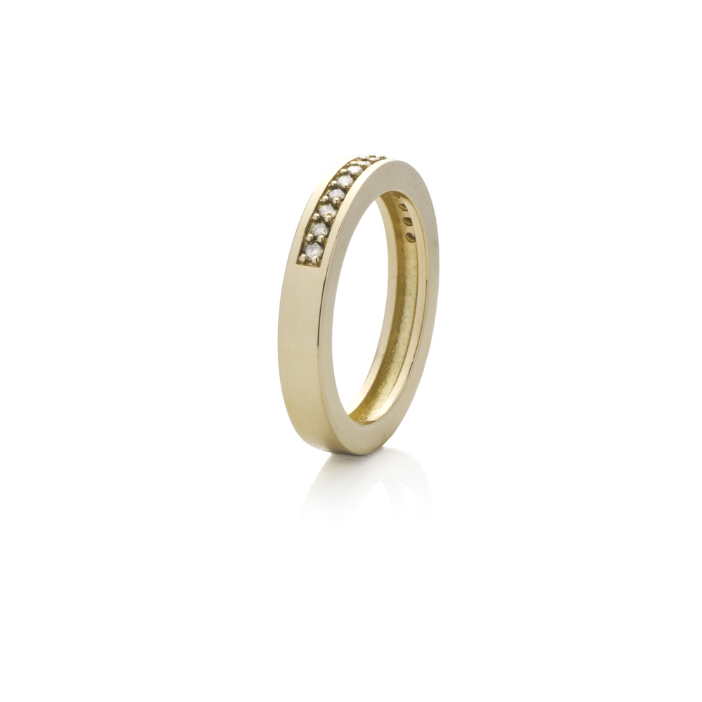 Ring Yellow gold 18 K, 15 champagne diamonds