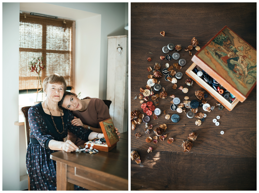 Designer Milda Cergelyte and her grandma Vida. The gift - box of buttons.