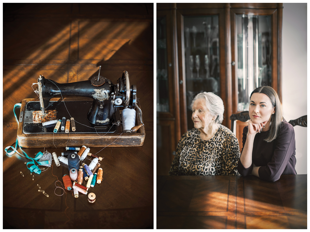 Jeweller Giedre Duoble and her grandma Regina. The gift - sewing machine Singer.