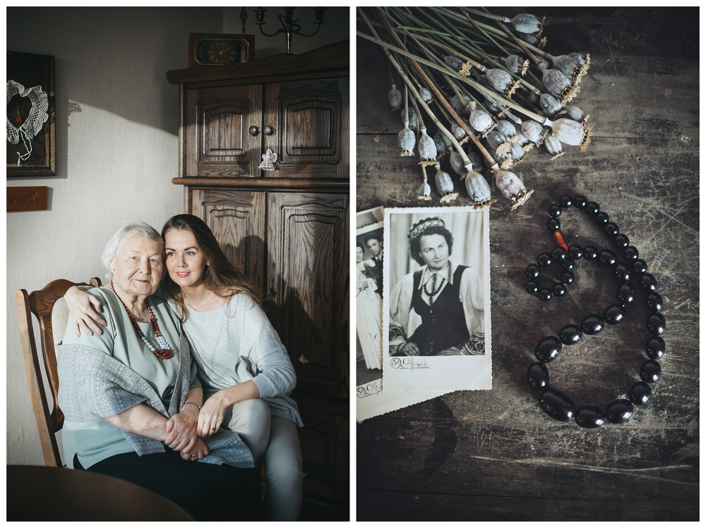 Graphic designer Goda Jackute and her grandma Elena. The gift - black amber necklace which was worn by grandma on her wedding day.