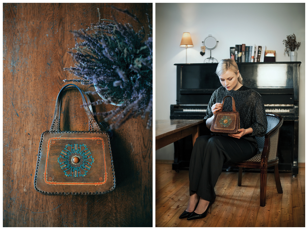 Actress Toma Vaskeviciute. The gift - handbag worn by her grandma.