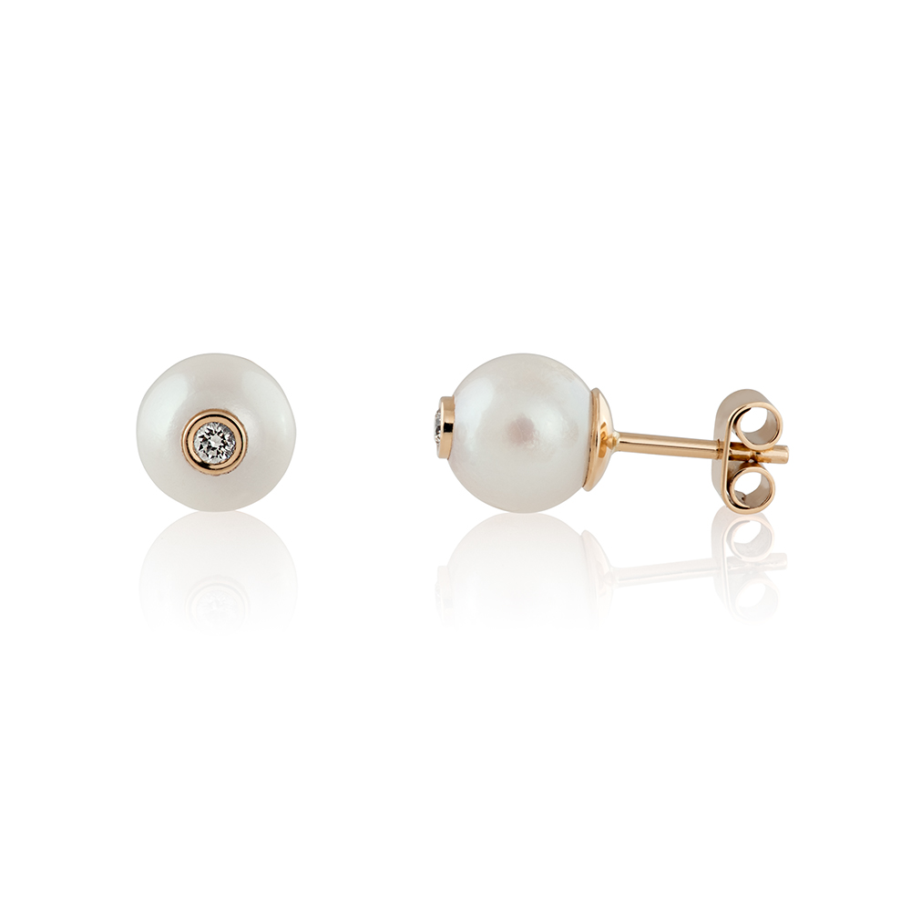 18K yellow gold, pearls and brilliant cut diamonds