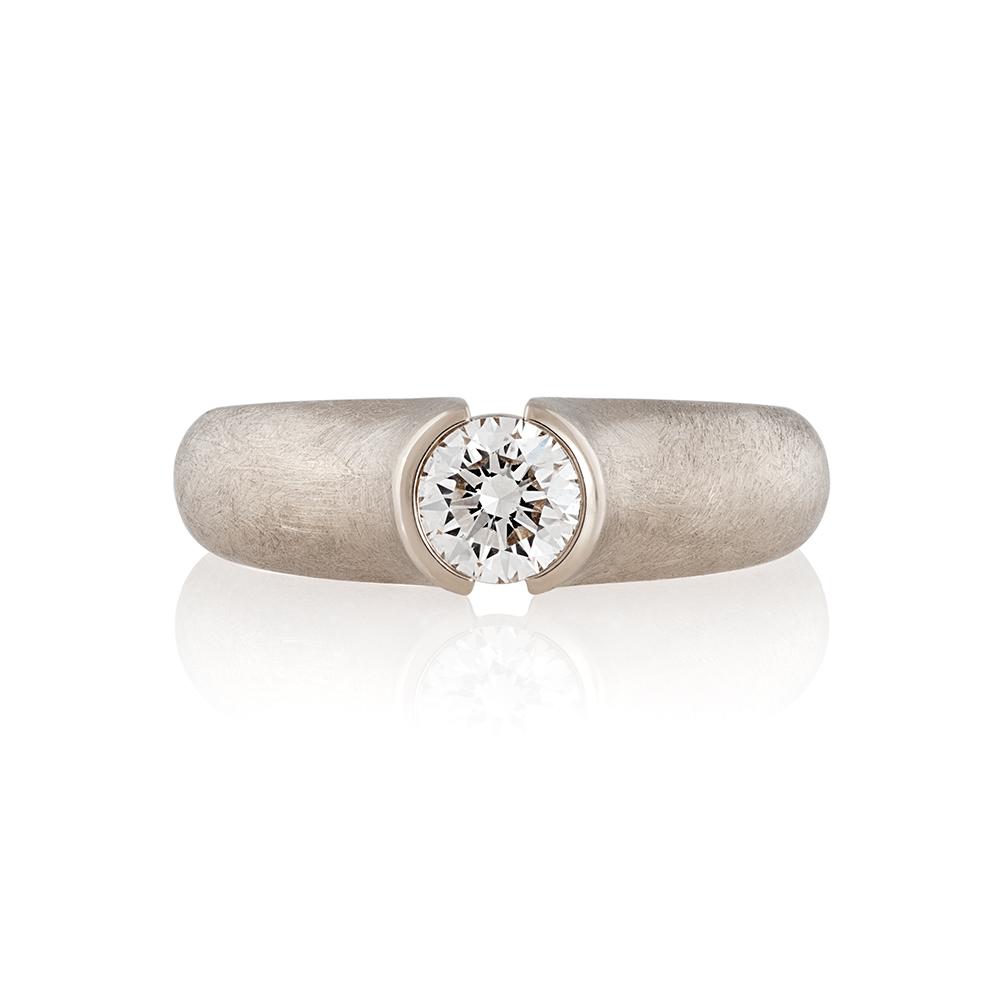 18K white gold. Brilliant cut diamond 0.5ct