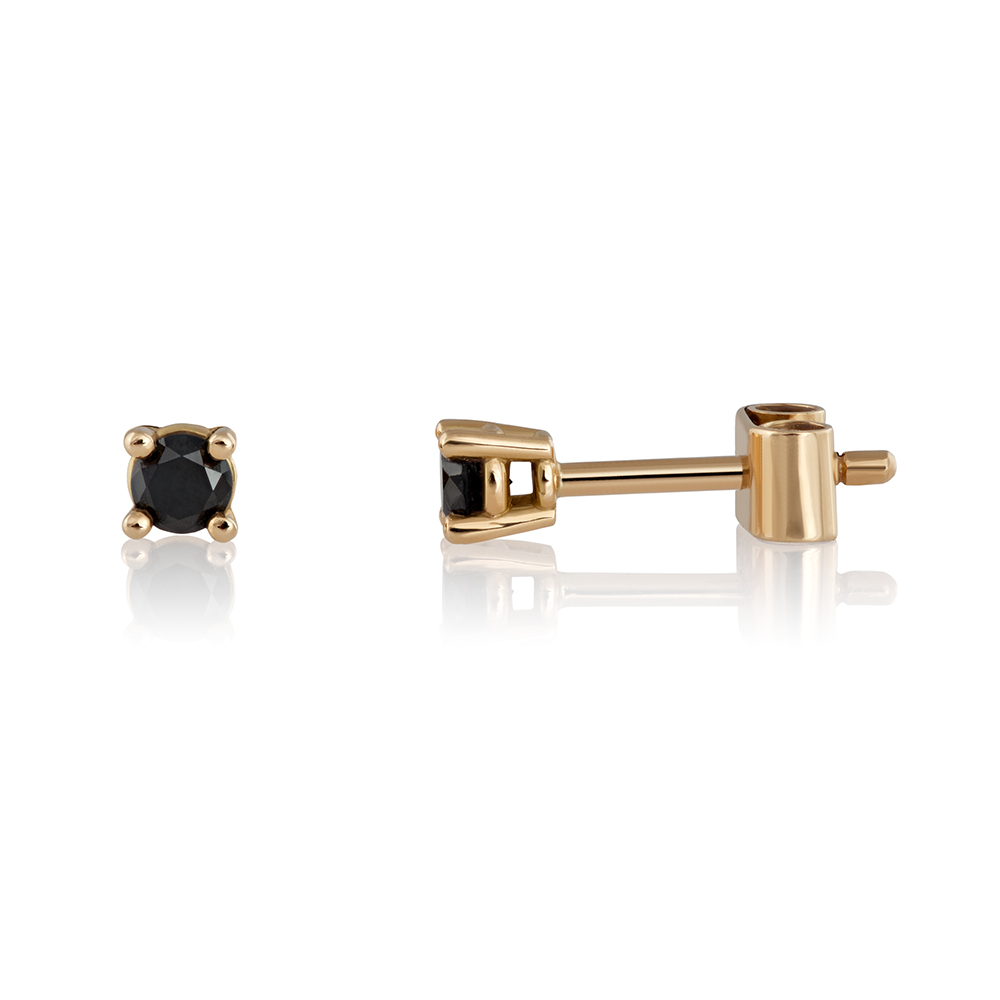18K yellow gold. Black brilliant cut diamonds total 0.2 ct