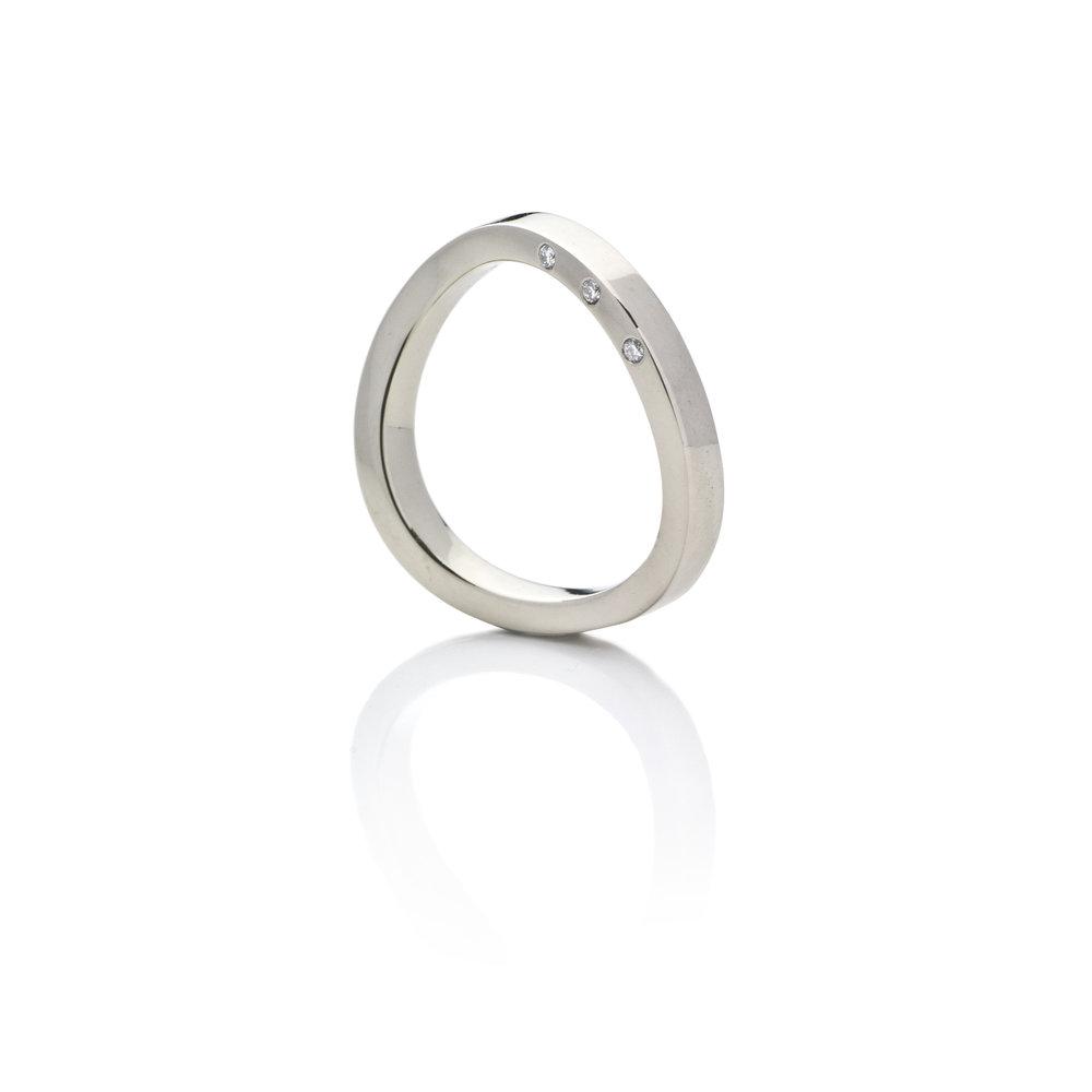 Ring White gold 18 K Brilliant cut diamonds 0.027 ct Size 17.00 610 eur