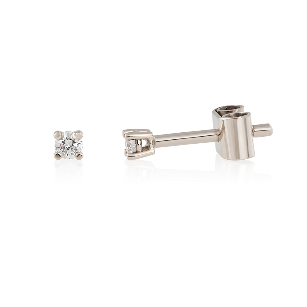 Earrings White gold 18K Brilliant cut diamonds 0.08 ct 440 eu