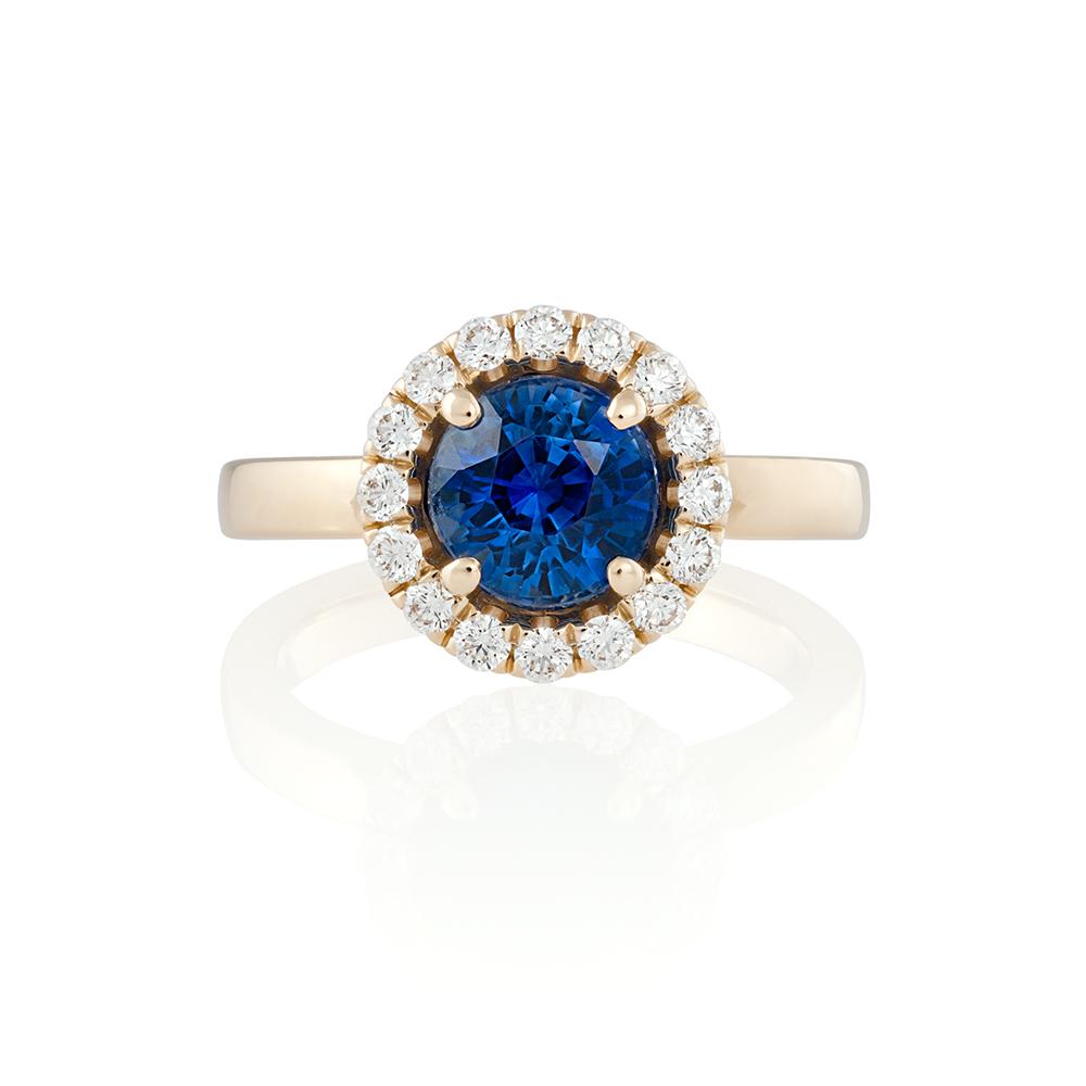 18K yellow gold. Sapphire 1.94 ct. Brilliant cut diamonds.