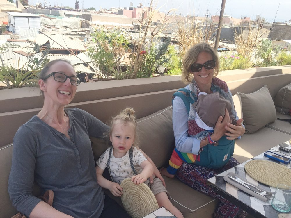Mums and babies enjoying a roof-top break at Cafe Nomad