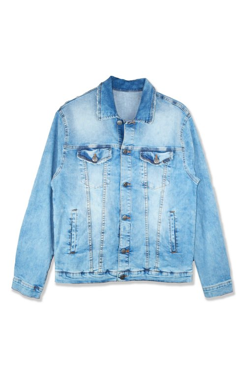 chaqueta tejana corta de manga larga y de cuello camisero con bolsillos laterales y - Chaquetas Tejanas