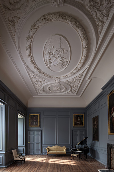 The Ball Room You enter this through a carved 17th century oak doorway. The room is a Double Cube and boasts a glorious ceiling recently completed by the sculptor, Geoffrey Preston. This room is a favourite place for a party or Civil Wedding Ceremony.