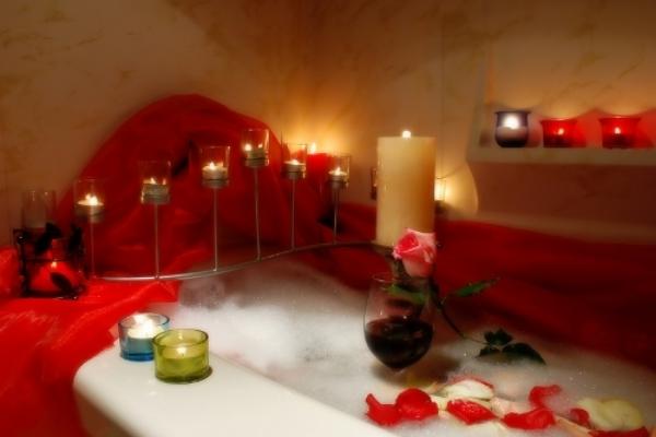 happy couple romantic bathroom