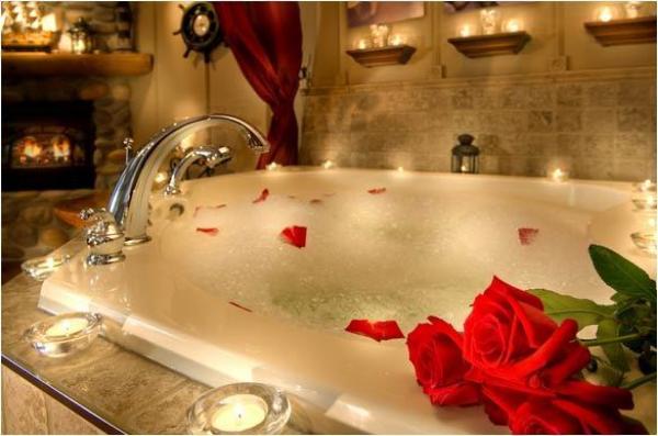 happy couple romantic bath set