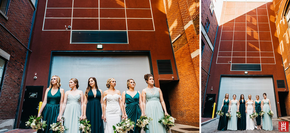 069-24-wide-bridesmaid-portrait-green-teal-dress-urban-alley-modern-wedding-indianapolis.jpg