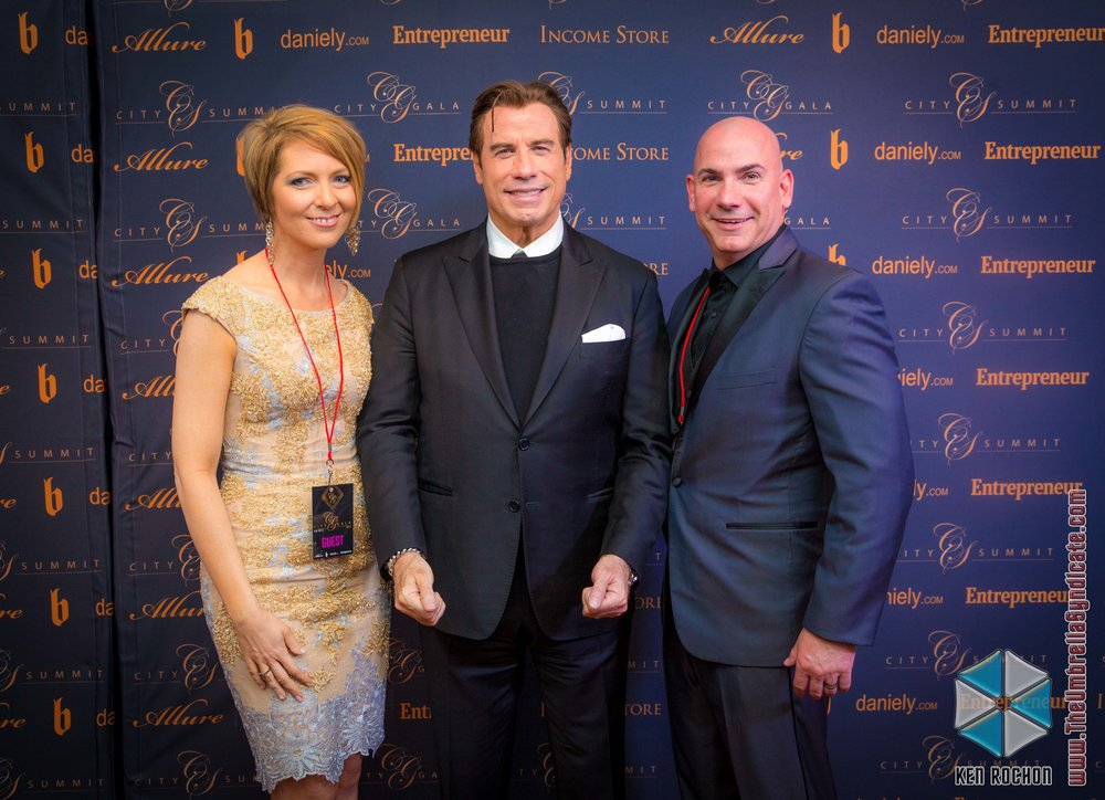 -     John Travolta wth Ed and Erica Castner - City Gala - Los Angles, CA. Photo: Ken Rochon - The Umbrella Syndicate