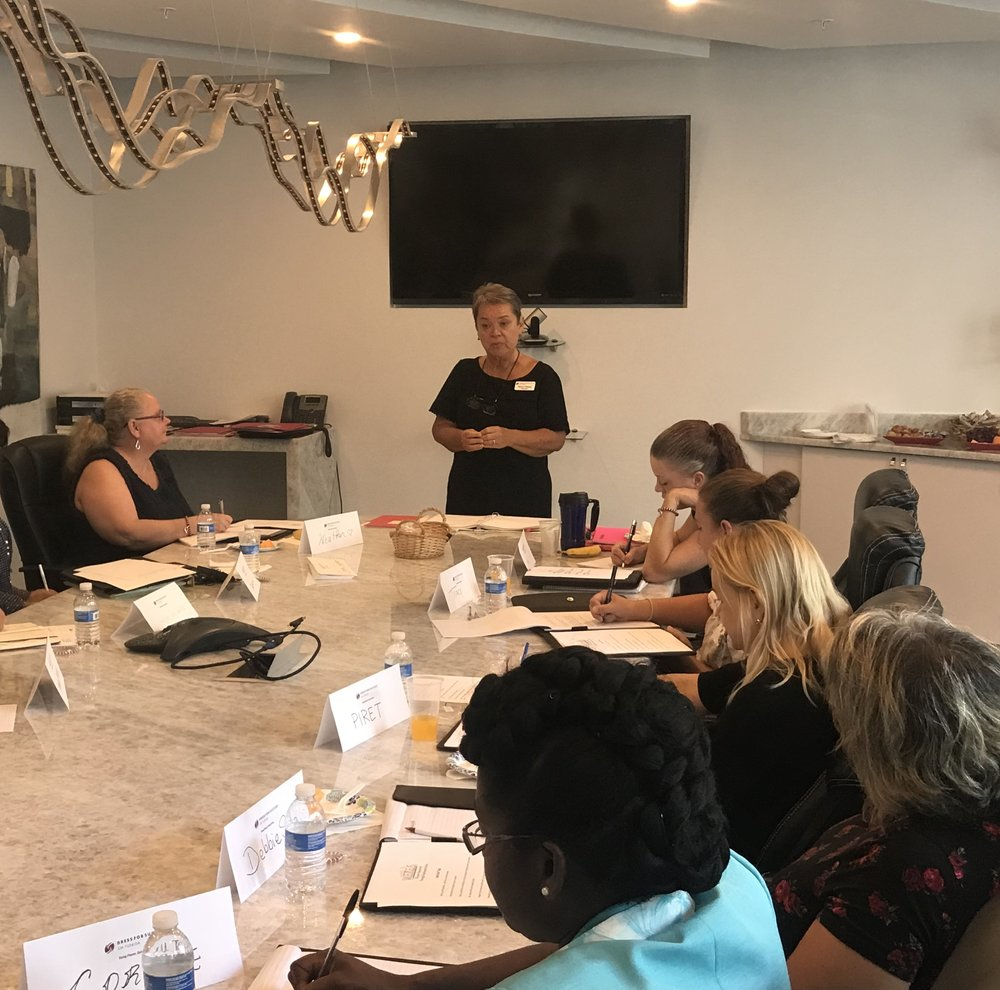 Nancy Gibson presenting at the Dress for Success SW Florida WETES session on July 24, 2018
