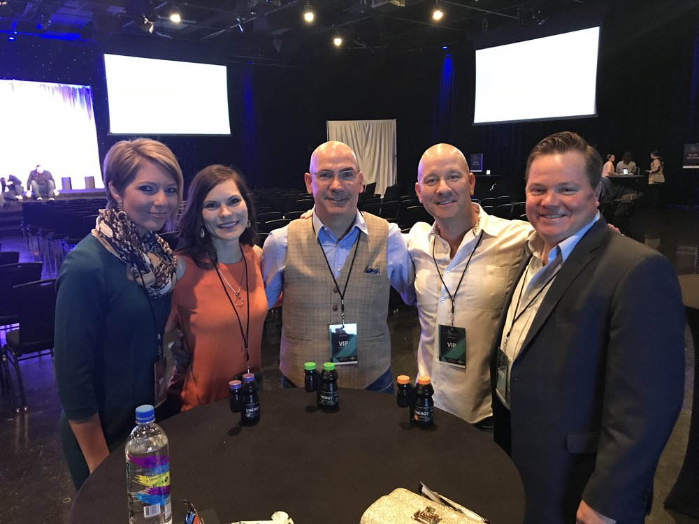 Erica Castner, Amy Novakovich, Ed Castner, Jim Novakovich and Brandon Leopoldus at City Summit at Universal Studios in Los Angeles, CA on March 3, 2018.