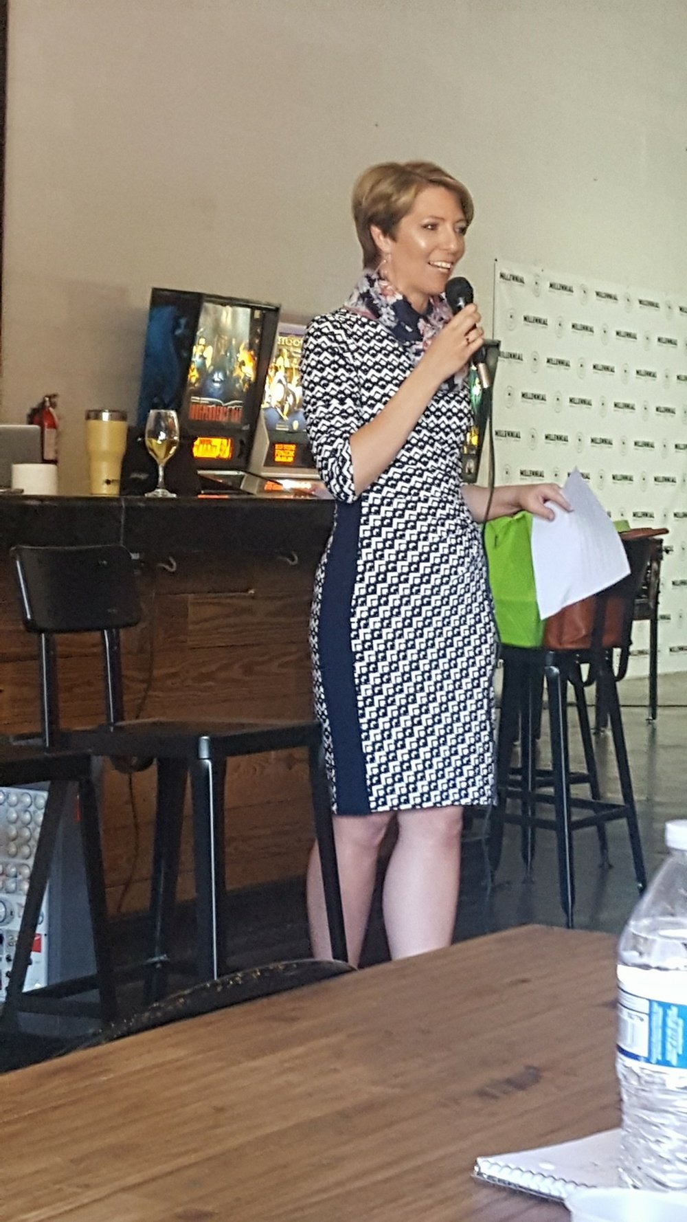 Erica Castner at the Expand Your Presence event at Millennial Brewing in Fort Myers, FL on March 22, 2018.