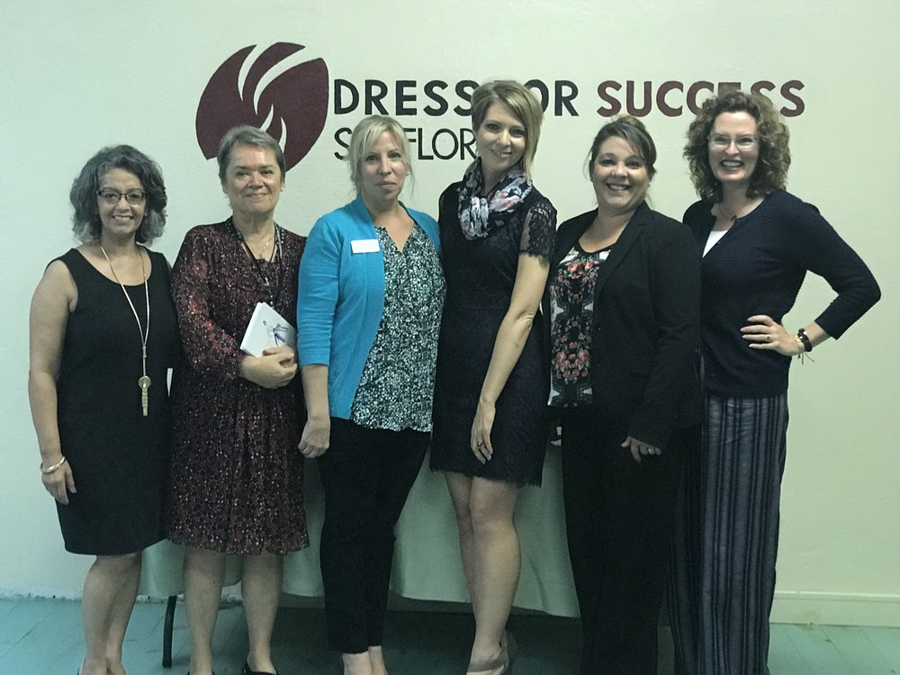 Carmen Salome, Nancy Gibson, Nickole Hendra, Erica Castner, Colleen Jorgensen and Lisa Brown at the Dress for Success SW Florida WETES Graduation - Winter Class in Fort Myers, FL on February 21, 2018