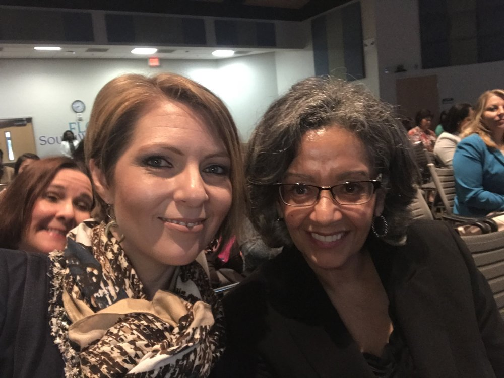 Erica Castner and Carmen Salome at the Lee County Economic Development Council Women's Leadership Conference at Florida Southwestern College on February 16, 2018