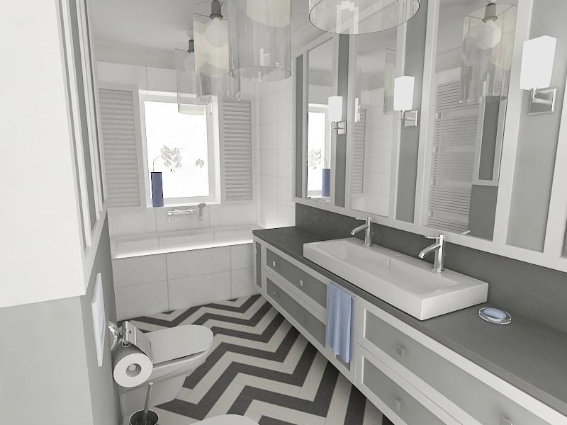 Projekt łazienki z podłogą chevron