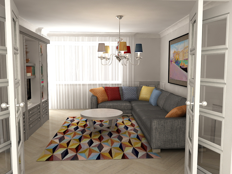 Projekt salonu z kolorowymi dodatkami