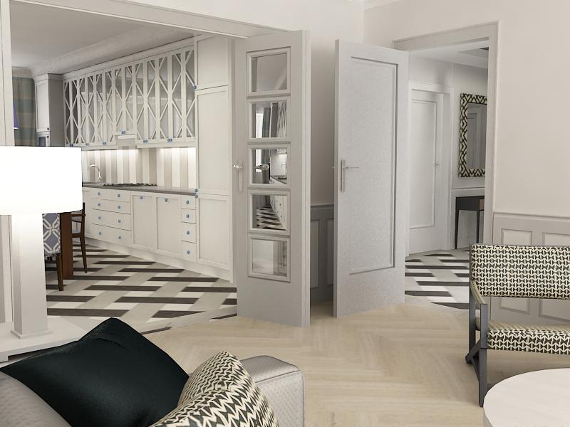Kuchnia połączona szerokimi drzwiami z salonem