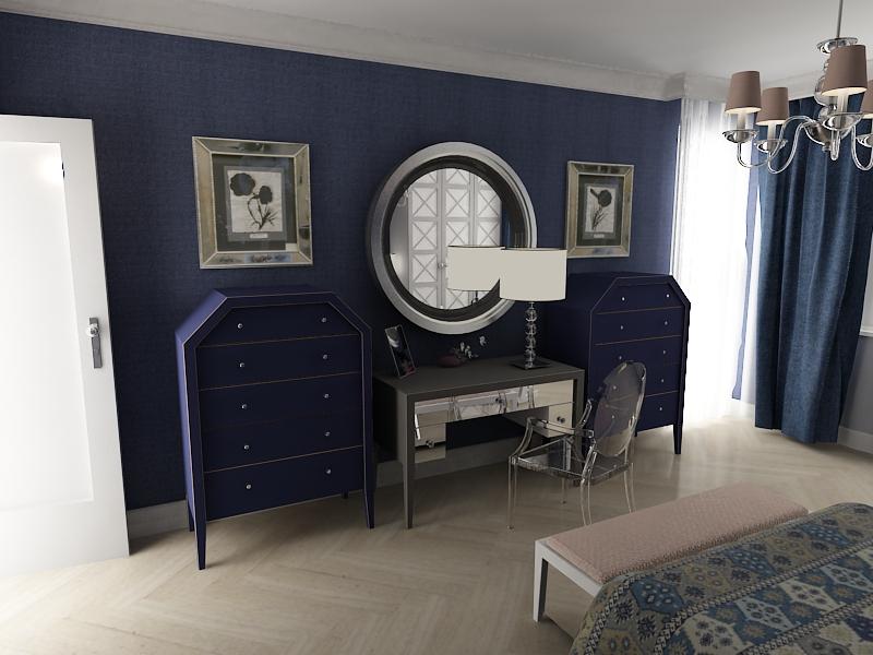 Granatowa sypialnia