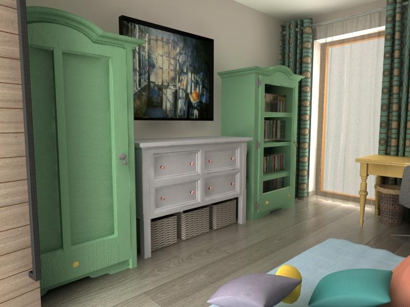 Szaro zielony pokój dziewczynki dziecka