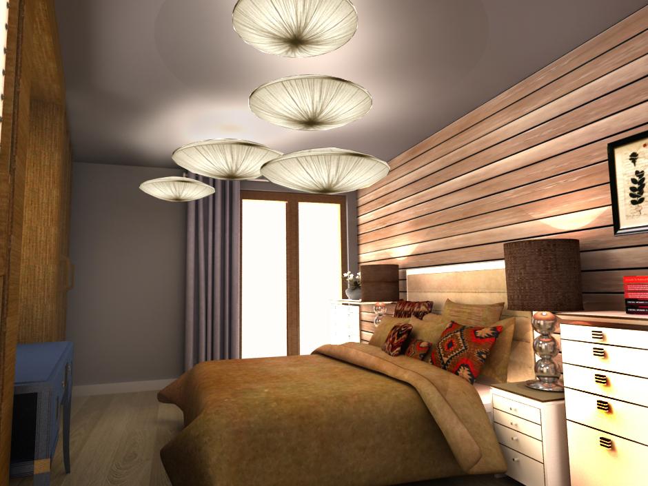 Wizualizacja beżowej sypialni w klimacie vintage